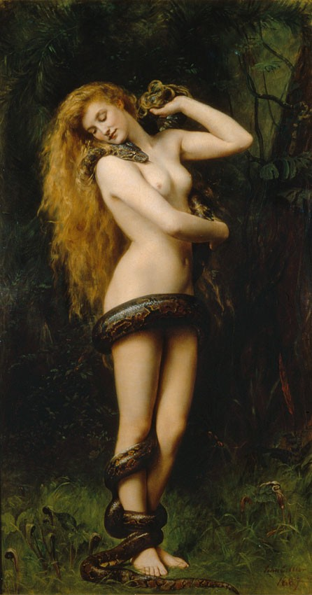 Painting by John Collier titled Lilith, and it dates from 1892. She appears here with a snake, which is intended to visually link her to Satan and his temptation of Eve.